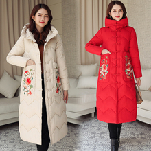 2019 new national wind winter down jacket womens long section fashion button buckle embroidered hooded cotton coat
