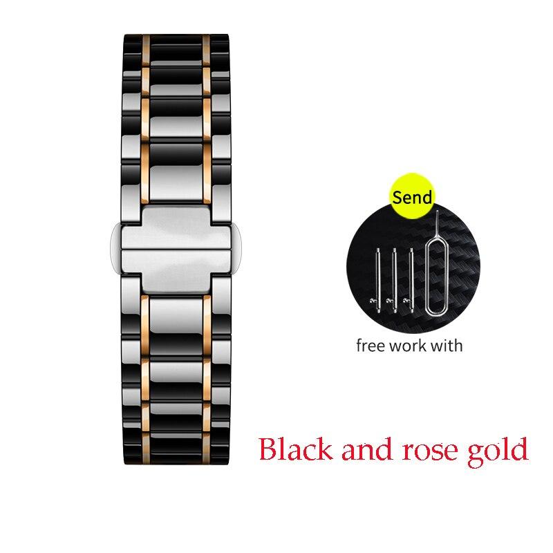 Керамический ремешок для часов для xiaomi smart watch сменный ремешок для mi часы браслет-цепочка ремешок аксессуары - Цвет ремешка: black and rose gold