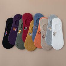 2020 verão dos desenhos animados animal meias femininas sólido algodão curto meias chinelos bordado respirável arte meias não mostrar hipster na moda