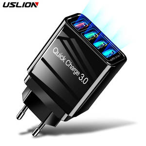 USLION 48W Quick Charger 3.0 USB Charger for iPhone XS Samsung Huawei P20 Tablet QC 3.0 Fast Wall Charger US EU UK Plug Adapter