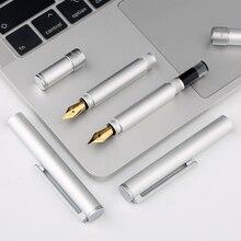 Moonman N1 Mini Aluminum Alloy Steel Silver Fountain Pen Pocket Short Pen 0.38/0.5mm EF/F Nib Iridium fountain pen with box