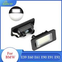 2Pcs ISincer LED ไฟป้ายทะเบียนสำหรับ BMW E39 E60 E61 E90 E91 E92 Super Bright LED รถใบอนุญาตจำนวนแผ่นไฟรถ