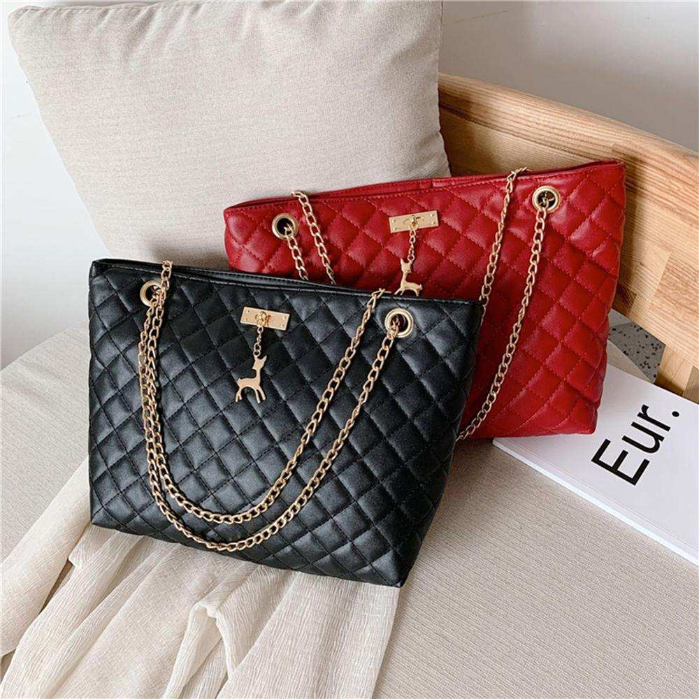 Women Bag Leather Handbag 2020 Designer Brand Luxury Large Capacity of Rhombic Chain Leather Ladies Shoulder Crossbody Women Bag|Top-Handle Bags|...
