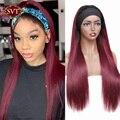 SVT эффектом деграде (переход от темного к прямого силуэта; Цвета красный, 1B/99J парик с головной повязкой парики из натуральных волос бразильс...