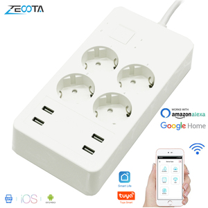 Image 1 - Wifi Smart multiprise protection contre les surtensions Extension 4 prises prises ue avec adaptateur chargeur USB fonctionne avec Alexa Google Home