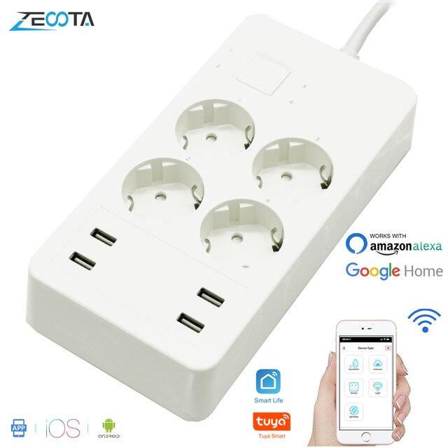 Wifi Smart multiprise protection contre les surtensions Extension 4 prises prises ue avec adaptateur chargeur USB fonctionne avec Alexa Google Home