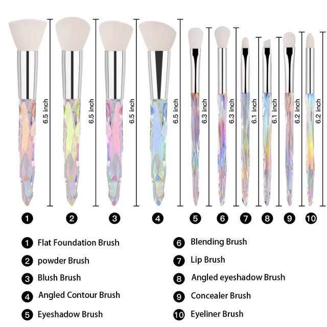 10pcs Makeup Brush Soft Type Cosmetic Face Powder Foundation Brush Synthetic Hair Crystal Handle Woman Make up Brush Kits Tools 1