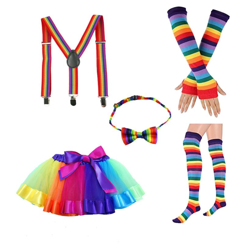 Adult Kids 5 In 1 Rainbow Tutu Skirt Suspenders Bowtie Socks Gloves Cosplay Costume Set Accessory