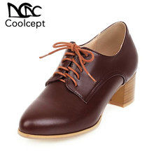 Coolcept New Office Lady Pumps Fashion High Heel Shoes Women Dress Cross Strap Basic Shoes Ladies Party Footwear Size 34-43 coolcept 4 color size 33 43 sexy women high heel shoes women pointed toe thick heel pumps office lady party shoes women footwear