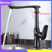 Kitchen Faucets Black Brass Kitchen Sink Faucet Antique Swivel 360 Degree Water Mixer Tap Single Handle Cold and Hot Water Tap yidlo tap kitchen faucet 360 degree swivel stainless steel kitchen sink faucet single handle hot and cold mixer sink faucet