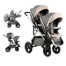 VIKI Twins Baby Stroller Multi-function High Landscape Bidirectional Strollers Carriage with 5 Points Safety Belts