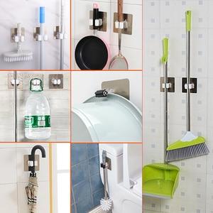 Image 2 - Soporte organizador de fregona montado en la pared estante de almacenamiento de fregonas de baño y cocina con gancho para escoba, 1 unidad fuerte