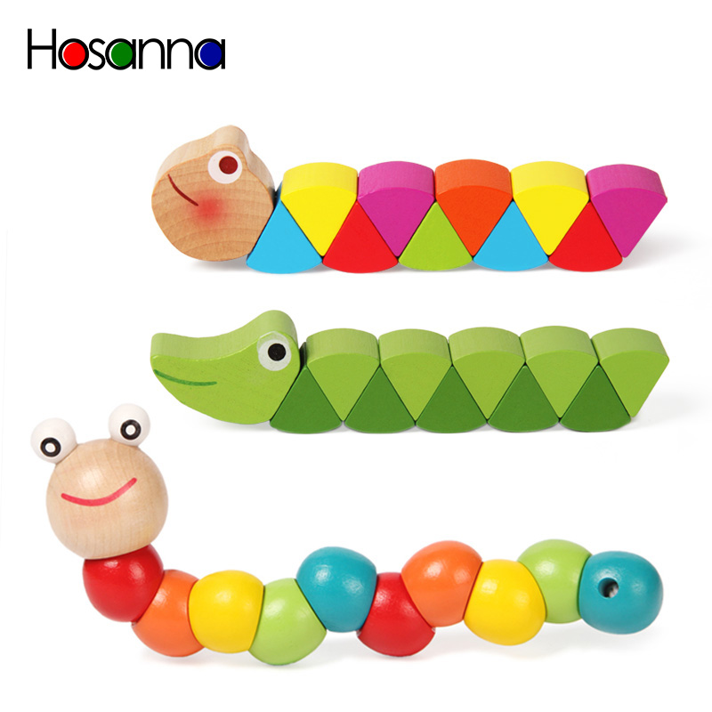 Colorful Wooden Worm Puzzles Kids Learning Educational Didactic Baby Development Toys Fingers Game for Children Montessori Gift(China)
