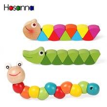 Renkli ahşap solucan bulmacalar çocuklar öğrenme eğitim didaktik bebek gelişim oyuncaklar parmak oyunu çocuklar için Montessori hediye