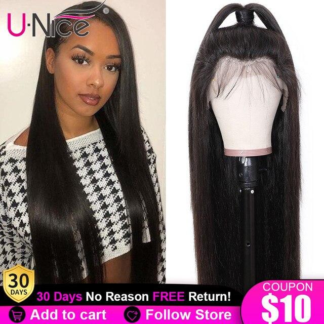 Unice saç 13*4 brezilyalı düz tutkalsız dantel ön İnsan saçı peruk ile bebek saç ön koparıp 5x5 HD dantel kapatma peruk kadın