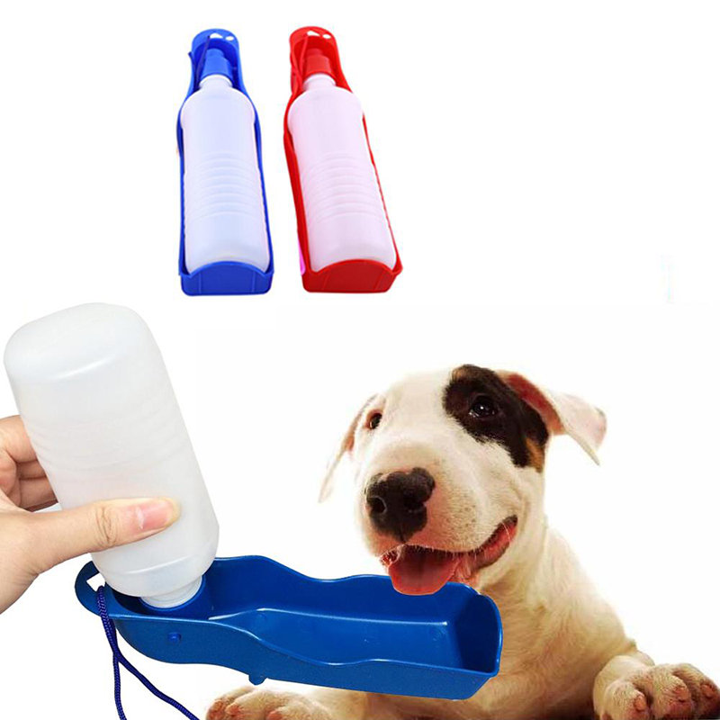 1PC 250ML Blue Dog Water Bottle Puppy Dog Feeder Container Folding Travel Portable Bottle For Water Pet Dog Supplies