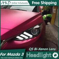 AKD Car Styling for Mazda 3 Headlights 2014 2016 New Mazda3 Axela LED Headlight DRL Bi Xenon Lens High Low Beam Parking Fog Lamp