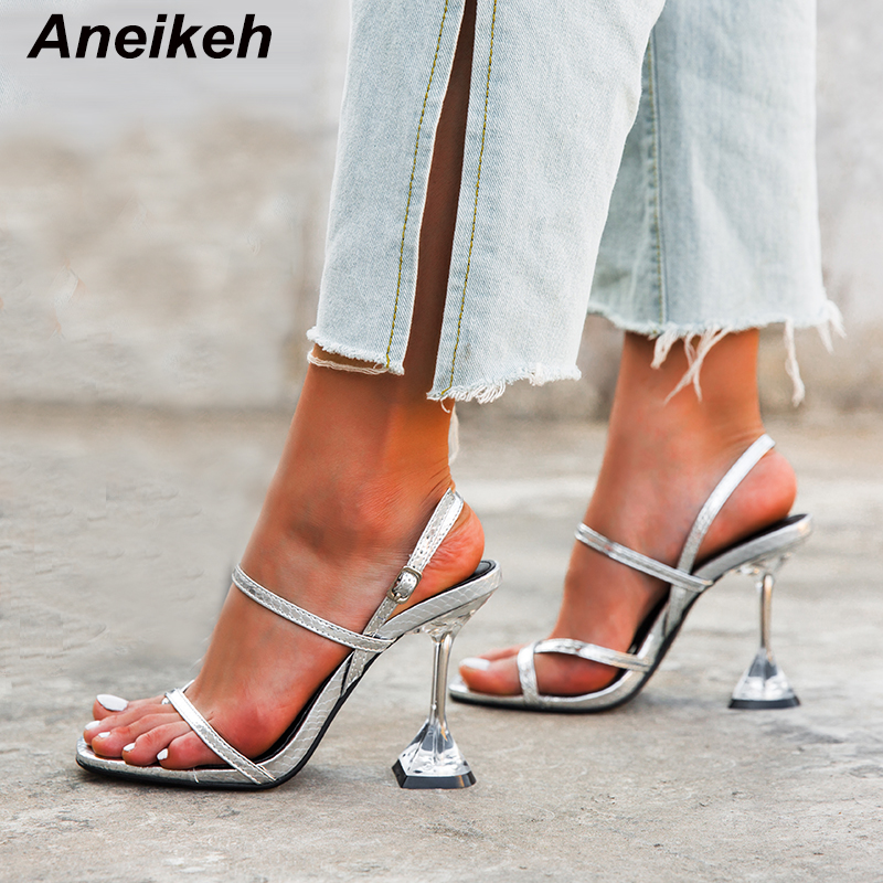 Aneikeh Gladiator Buckle High Heels Sandals Women Summer Sandalia Feminina <font><b>Sexy</b></font> Leather 2020 Party Ladies Shoes Zapatos De Mujer image