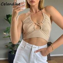 Celandine Khaki Casual Mini T Shirt Women Basic Crop Tops Ladies Fashion Summer 2021 Backless Hollow Out Sexy Club Tank Tops