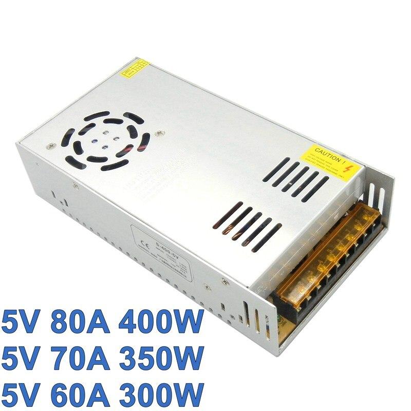 Импульсный источник питания, трансформатор для светодиодного драйвера, 5 В, 80 А, 70 А, 60 А, 110 В/220 В переменного тока в 5 в постоянного тока, 400 Вт, ...