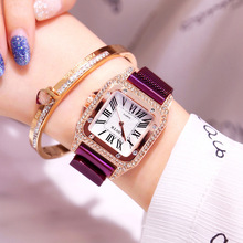 Reloj mujer Women Watches Stainless Steel Magnetic Ladies Watch Luxury Rose Waterproof Clock Square Shiny Diamond Quartz Watches