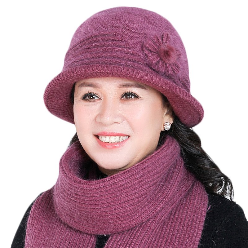Women Rabbit Fur Knitted Hat Scarf Set Mom Lady Casual Hats Winter Thick Plus Velvet Hat Scarf Set For Women Cap Scarves 2pcs
