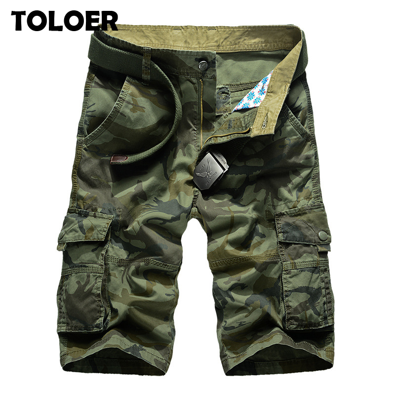 2020 Mens Military Cargo Shorts Summer army green Cotton Shorts men Loose Multi-Pocket Shorts Homme Casual Bermuda Trousers 44