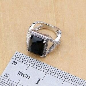 Image 5 - Квадратные ювелирные изделия из серебра 925 пробы с черным цирконием и белым кубическим цирконием, комплекты украшений для женщин, серьги/кулон/ожерелье/кольца/браслет