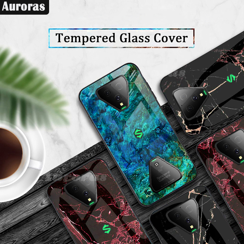 Auroras For Black Shark 3 Pro Case Tempered Glass Soft Silicone Frame Cover Marble Print For Xiaomi Blackshark 3 Cover Funda