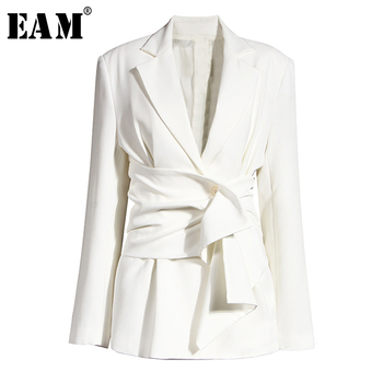 [EAM]  Women White Knot Split Joint Irregular Blazer New Lapel Long Sleeve Loose Fit  Jacket Fashion Spring Autumn 2020 1X343 spring autumn 2020 women tops green plaid split big size blazer new lapel long sleeve loose fit jacket fashion tide korean