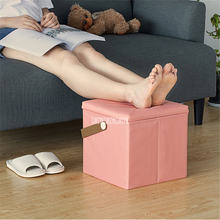 MNSND-277 Creative Oxford Cloth Foldable Storage Low Square Stool Household Sponge Storage Box Footstool Shoe Changing Bench