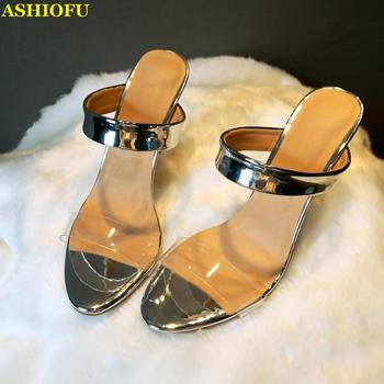ASHIOFU Handmade Ladies High Heel Sandals Sexy Party Prom PVC Summer Shoes Easy Wear Real Photos Club Evening Fashion Sandals