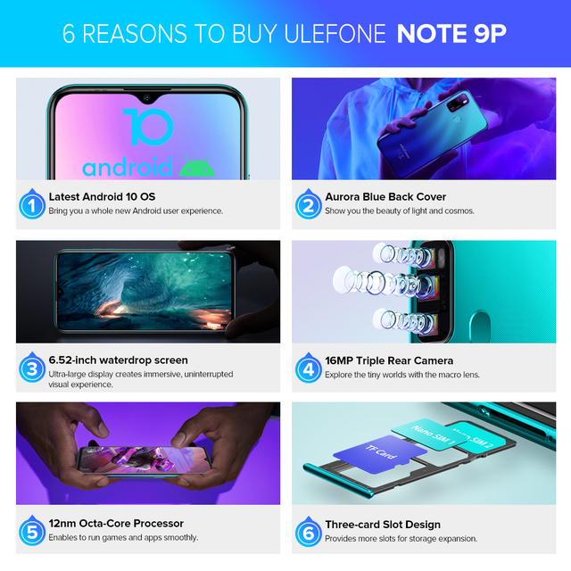 Ulefone Note 9P Smartphone Android 10 4GB+64GB Waterdrop Screen 6.52-Inch Octa-Core 4G Android Mobile Phone 3