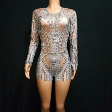 Sparkly Silver Rhinestone Rompers Women Jumpsuit Evening Party Night Club Crystal Outfit Female Singer Performance Dance Costume