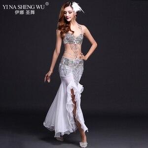Image 4 - ベリーダンスのパフォーマンス衣装セットベリーダンススパンコールブラジャー魚の尾スカートダンス美しい服女性 Bellydancing 7 色