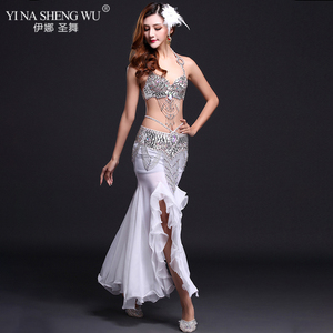 Image 4 - New High Quality Belly Dance Costume Sexy Bra+Skirt+belt Stage Performance Suits Outfits Oriental Belly Dance Clothes Slit Skirt