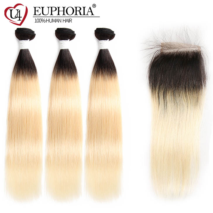 1B/613 Platinum Blonde Human Hair Bundles With Closure 4x4 Brazilian Straight 3 Bundles With Closure EUPHORIA Ombre Remy Hair