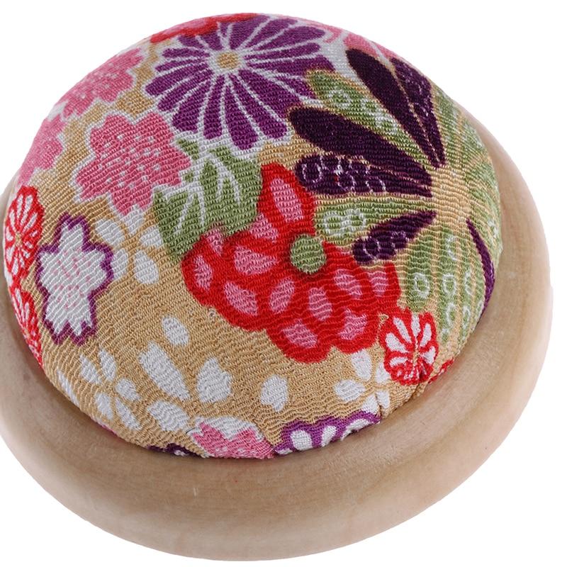 Type 1 oshhni Wood Bottom Pincushion Pin Cushion for Embroidery Needlework Sewing Tool