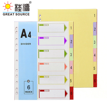 A4 File Folder Divider Printing Paper Card Index 6 Color Divers With Index Cover (4 Sets) comix ix894 paper index card a4 11 holes for documents file display free shipping