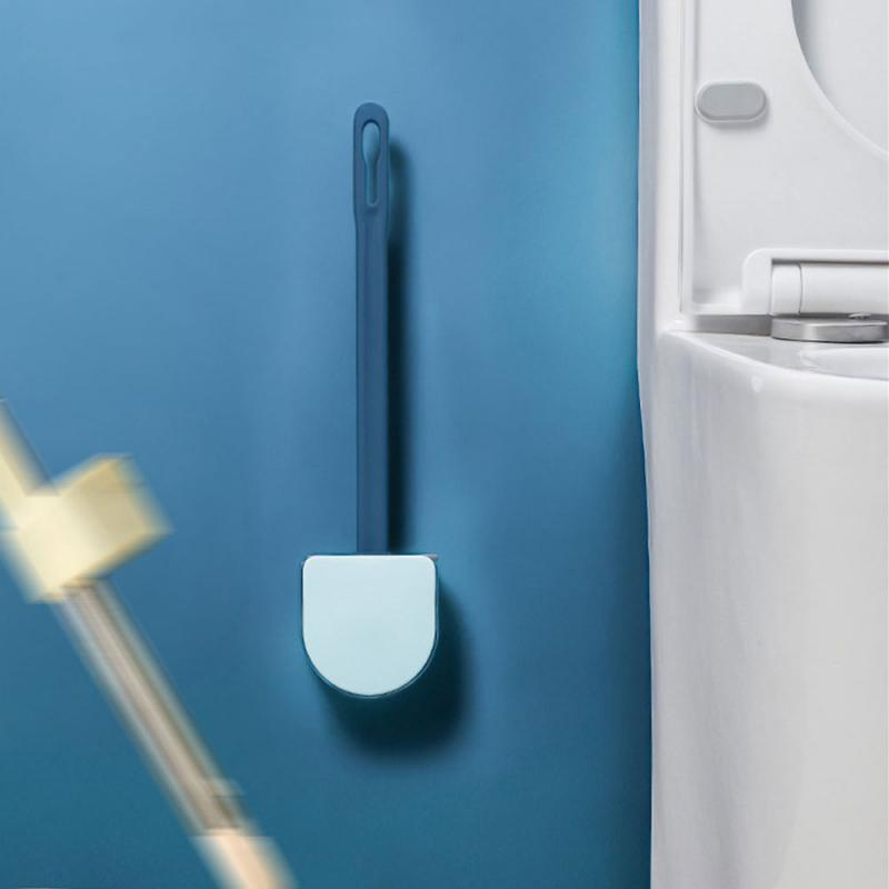 Silicone Toilet Brush Floor-Standing Wall-Mounted Base Cleaning Brush Toilet WC Bathroom Accessories Set Household Supplies Home