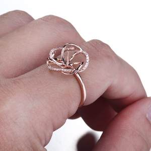 Image 4 - HELON Solido 14K Rose Gold Pave Diamante Naturale Cerimonia Nuziale Di Aggancio Semi Anello di Supporto Impostazione Donne Gioielleria Raffinata fit 8  11 millimetri Perla