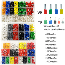 Cable Wire Connector Electrical Tube Terminals Multiple box styles Pre-Insulated Crimping Sleeve terminal suit 3500/1070 PCS