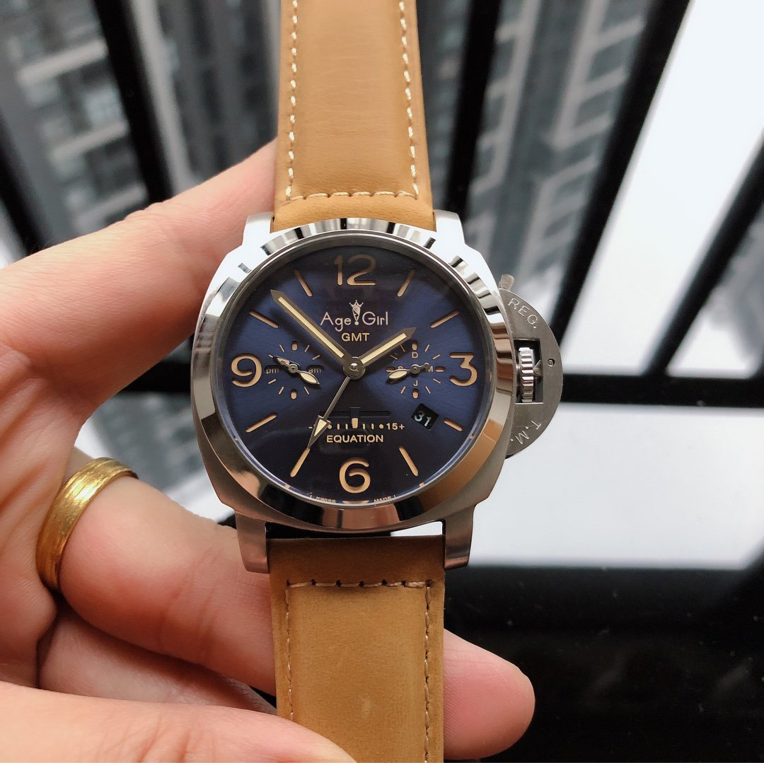44mm Luxury Brand New Men Automatic Mechanical Sapphire Stainless Steel GMT Equation Luminous Blue Dial Brown Leather Watch