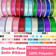3 5 6 9 13 16 19 22 25 28 32 38 50 57 63 75 89 100mm Solide farbe Doppel Gesicht SATIN BAND Hohe Qualität 100% Polyester #372292