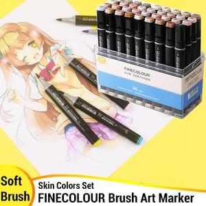 Image 1 - Finecolour Conjunto de rotuladores de punta de pincel de Color, con tinta de Alcohol, marcador artístico de punta de fieltro, suministros de arte cómico, diseño gráfico de punta de fieltro EF102