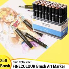Finecolour cilt rengi fırça ucu belirteçleri Set alkol mürekkep keçeli ucu resim kalemi komik sanat malzemeleri keçe ucu grafik tasarım EF102