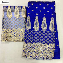Embroidered George Lace Fabric With BLouse For India Wedding Dresses Royal Blue New Fashion Gold Line Guipure George E911-28