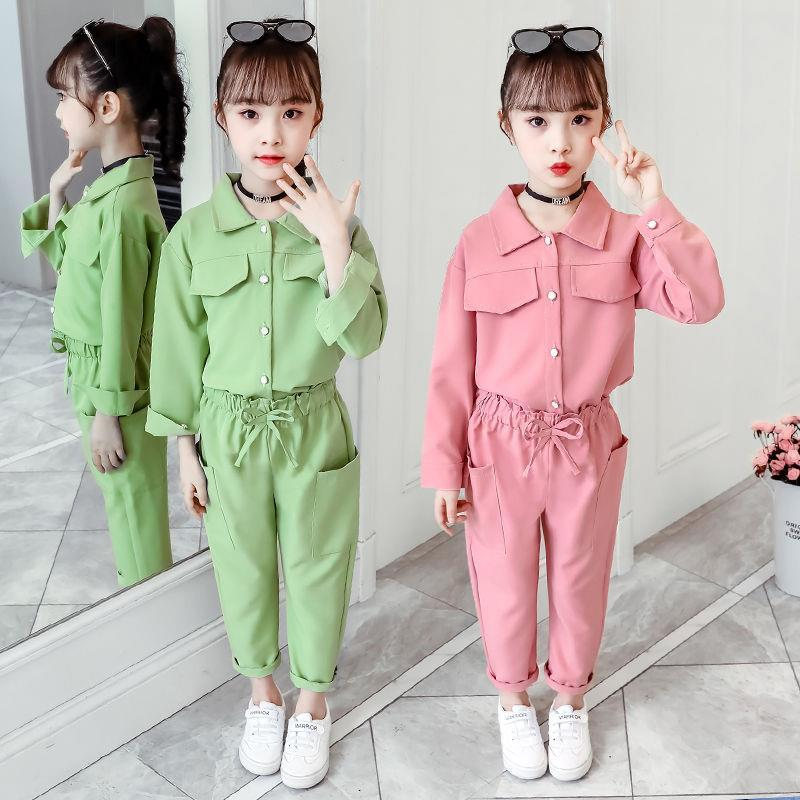 2021 New Girls Spring and Autumn Suit Long-sleeved Jacket + Trousers Children's Clothing Two Pieces Sets 9 Kids 12 Years Old