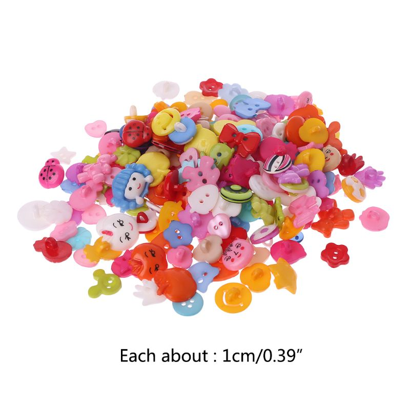 200pcs 10mm Mixed Pattern Mixed Buttons Sewing Scrapbooking Charm Craft DIY Accessories R9UE