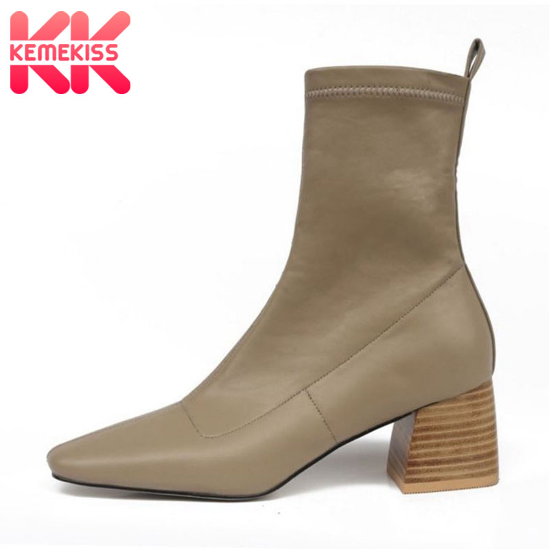 KemeKiss Women Ankle Boots Fashion Patchwork Leather Shoes Women Square Heel Office Solid Color Casual Footwear Size 34-40
